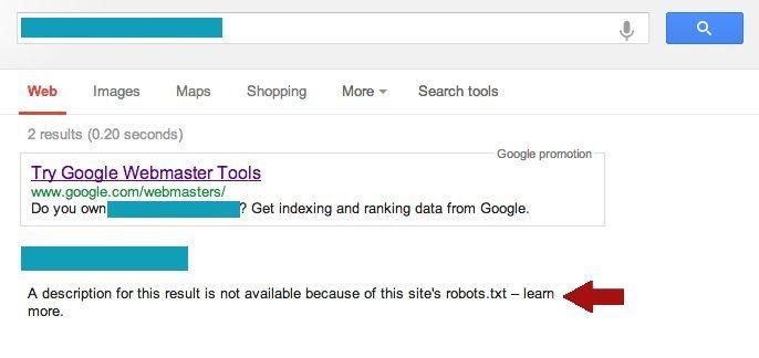 Robots.txt Blocked Website Message