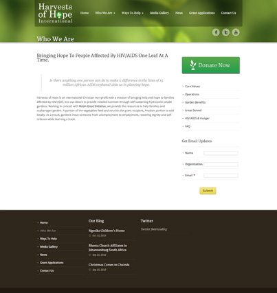 Epic Notion Client Harvests of Hope Website Development and Design