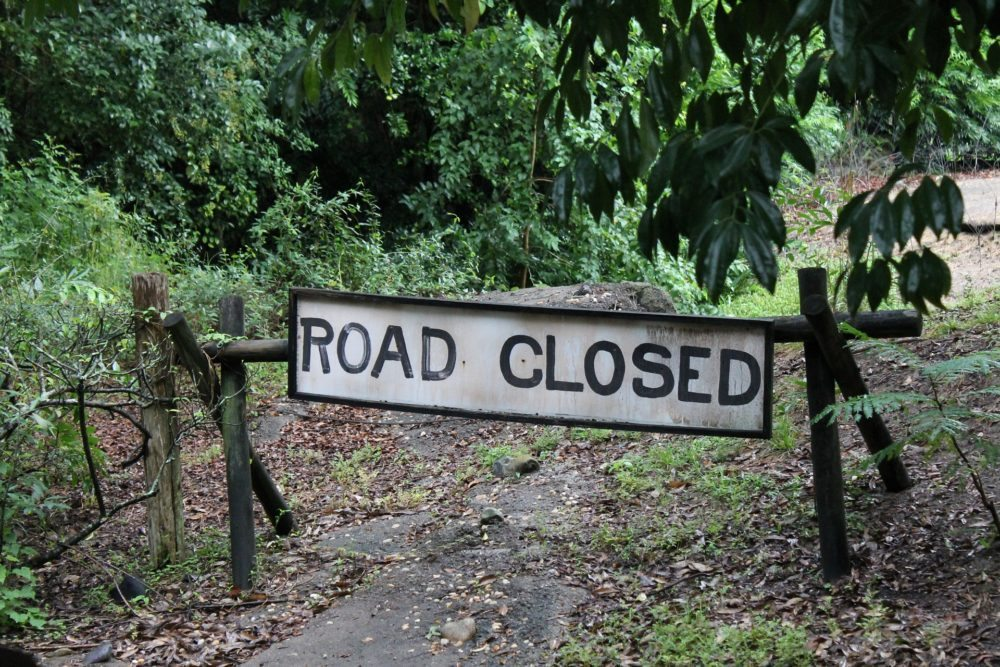 Road Closed Sign on a Trail | Epic Notion Blog