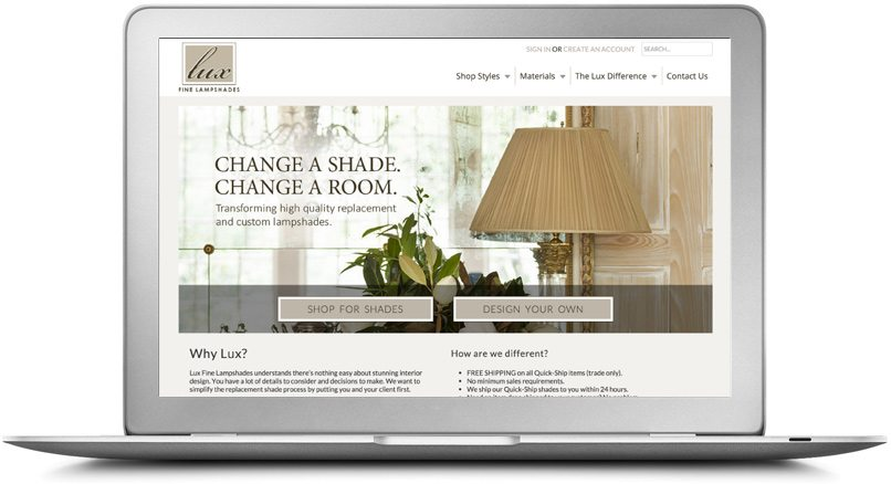 Epic Notion Digital Marketing | Lux Lampshades Laptop Website Development and Design