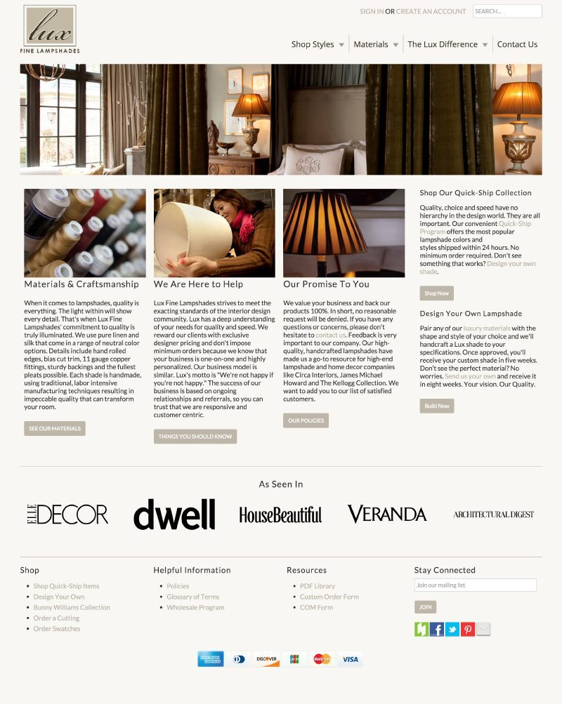 Epic Notion Digital Marketing | Lux Lampshades E-Commerce Website Development and Design