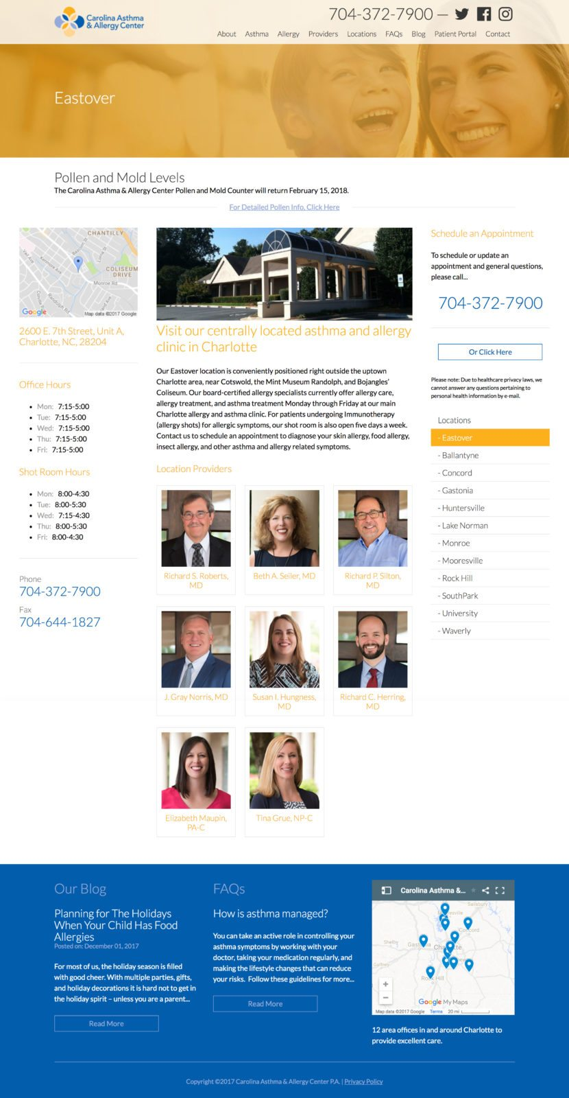 Epic Notion Client | Carolina Asthma & Allergy Award-Winning Website Design and Development