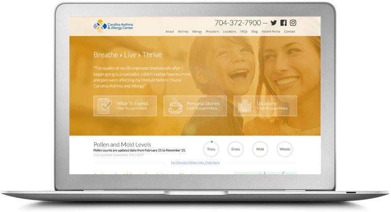 Award-Winning Epic Notion Client   Carolina Asthma & Allergy Website Desktop Design and Development