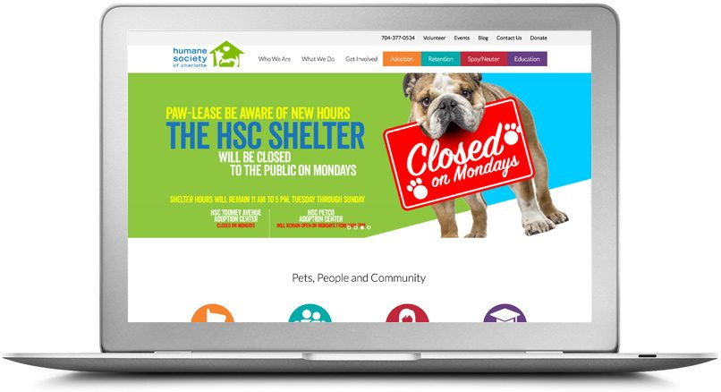 Epic Notion Client | Humane Society of Charlotte Desktop Website Design and Development