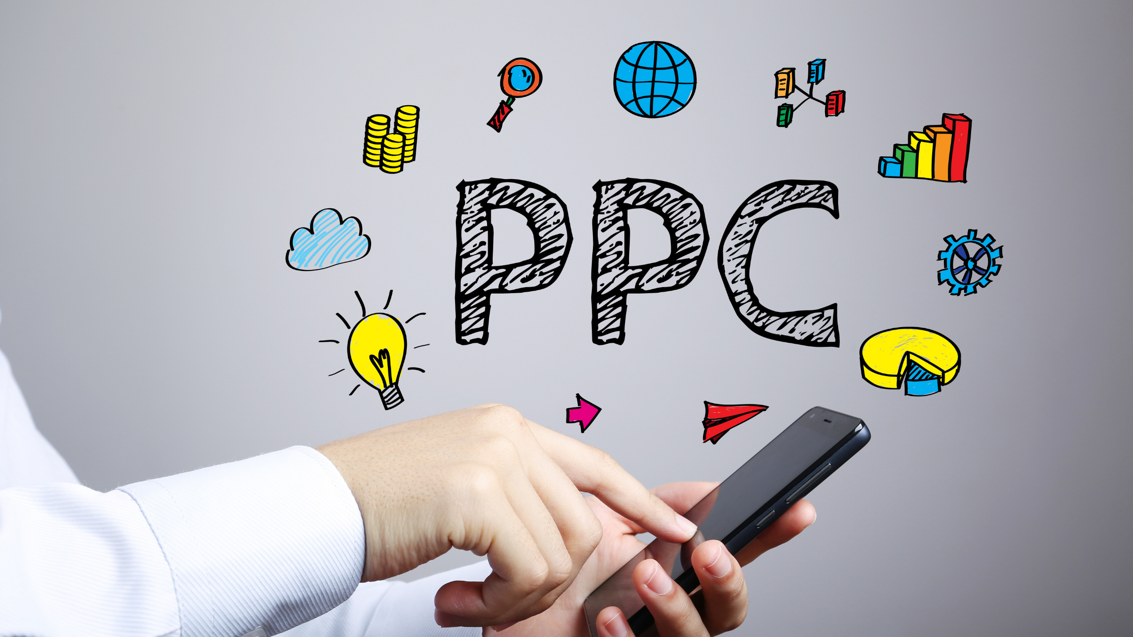 Person looking at PPC ads on a cell phone