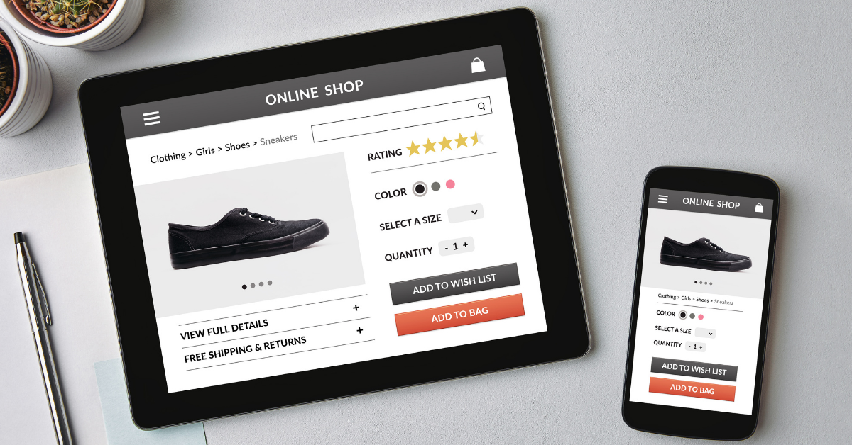user shopping online on a tablet and iphone